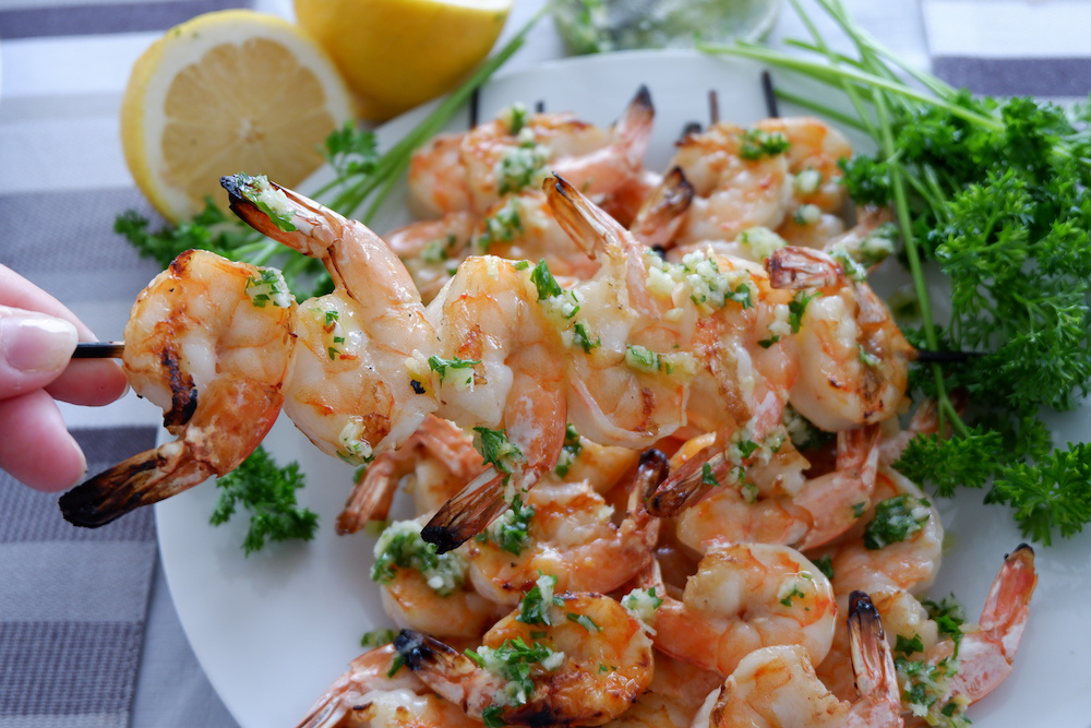 Garlicky Grilled Shrimp Skewers
