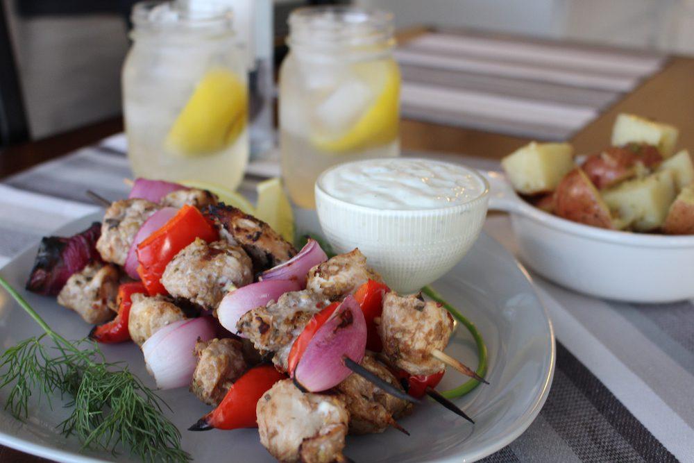 Chicken and Veggie Skewers with Vodka Lemonade