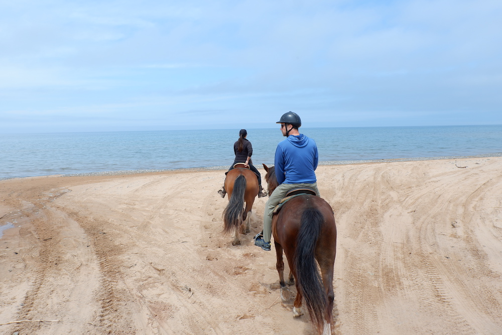 Magdalen Islands Horseback Riding on the beach